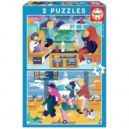 Puzzle 2 x 48 peças Educa...