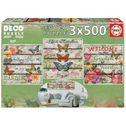 3 x Puzzle Educa 500 peças Decor Jardim no campo