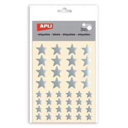 Etiquetas com estrelas prateadas Apli